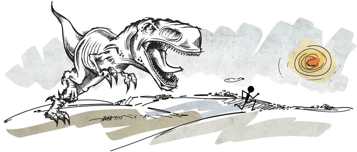 Turn around before the T-Rex gets you!